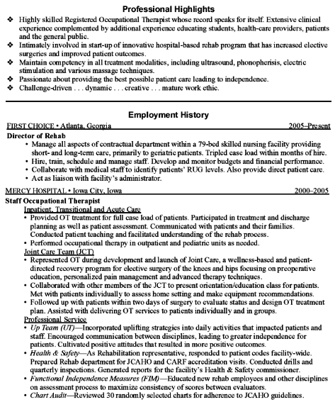 cluttered example of an occupational therapy resume