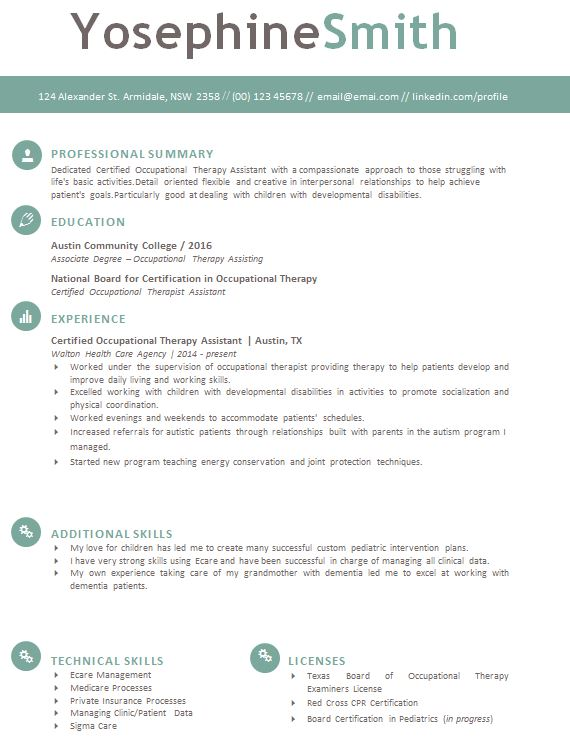 Download OT Resume Template Files  Occupational Therapy Resume