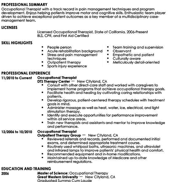Well Formatted Example Of Occupational Therapist Resume