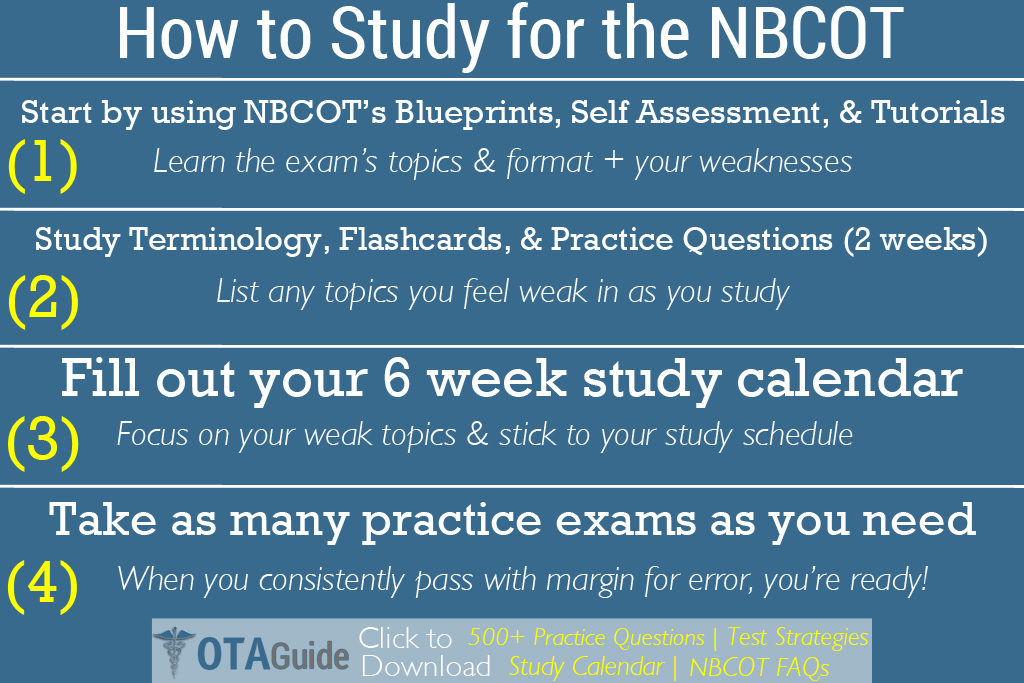 How to study for the NBCOT exam with free practice questions & a study calendar